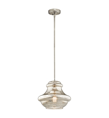 Kichler 42044NIMER Everly Collection Pendant 1 Light in Brushed Nickel