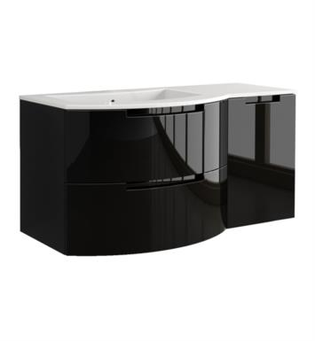 LaToscana OA43OPT2B Oasi 43 inch Modern Bathroom Vanity with 2 Slow Close Drawers Right Side Cabinet and Tekorlux Left Sink Top With Finish: Glossy Black