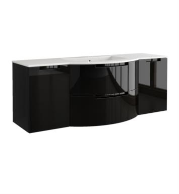 LaToscana OA57OPT4B Oasi 57 inch Modern Bathroom Vanity with 2 Slow Close Drawers Left and Right Side Cabinets and Tekorlux Sink Top With Finish: Glossy Black