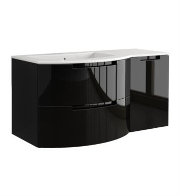 LaToscana OA53OPT2G Oasi 53 inch Modern Bathroom Vanity with 2 Slow Close Drawers Right Side Cabinet and Tekorlux Left Sink Top With Finish: Glossy Gray