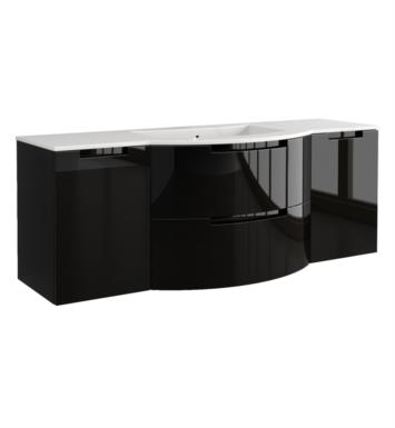 LaToscana OA67OPT4W Oasi 67 inch Modern Bathroom Vanity with 2 Slow Close Drawers, Left and Right Side Cabinets and Tekorlux Sink Top With Finish: Glossy White
