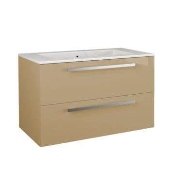 LaToscana AM34OPT1 Ambra 34 inch Modern Bathroom Vanity with 2 Slow Close Drawers, Flat Face, Chrome Handles and Tekorlux Sink Top