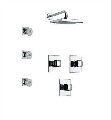LaToscana LA-OPTION-4VCPW Lady 4VC Shower System with Showerhead and 3 Body Jets With Finish: Brushed Nickel