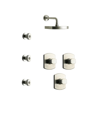 LaToscana NO-OPTION-4VCPW Novello 4VC Shower System with Showerhead and 3 Body Jets With Finish: Brushed Nickel