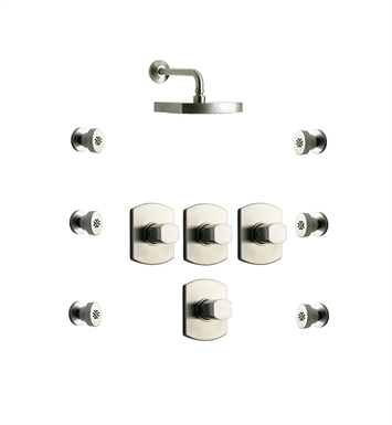 LaToscana NO-OPTION-5VCPW Novello 5VC Shower System with Showerhead and 6 Body Jets With Finish: Brushed Nickel