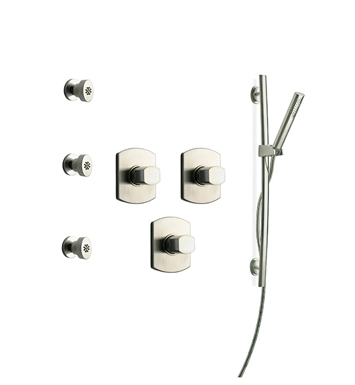 LaToscana NO-OPTION-6VCPW Novello 6VC Shower System with Slidebar, Handshower and 3 Body Jets With Finish: Brushed Nickel
