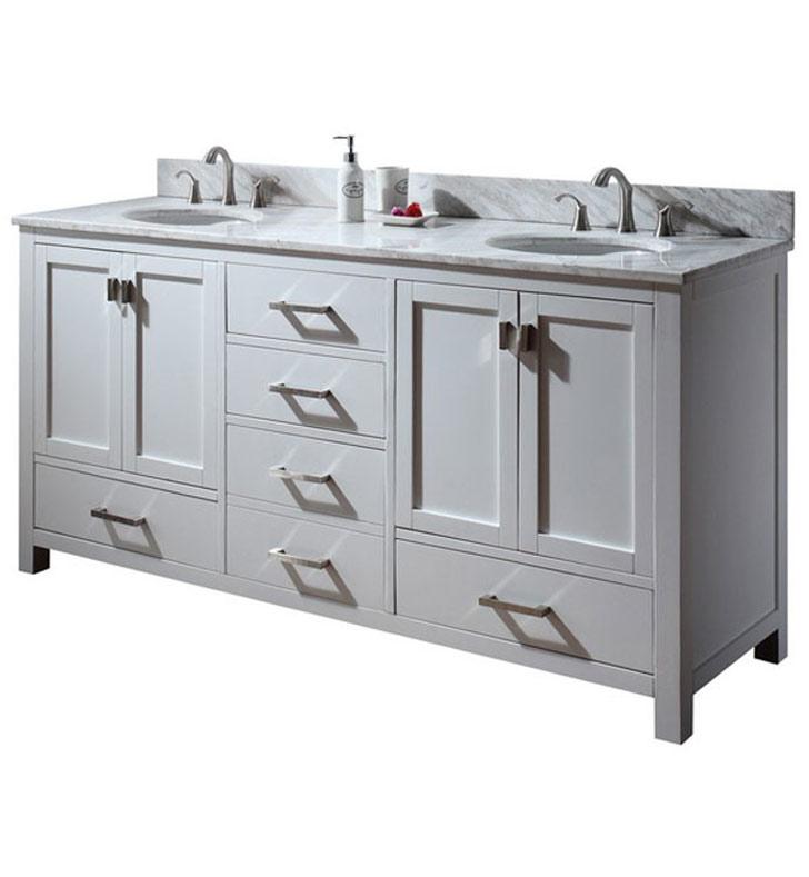 Avanity MODERO V72 WT Modero 72 White Double Sink Contemporary Bathroom