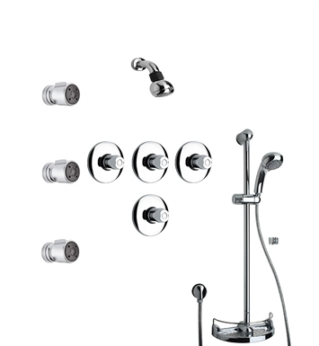 LaToscana WH-OPTION-7VC Water Harmony 7VC Shower System with Showerhead, Slidebar, Handshower and 3 Body Jets