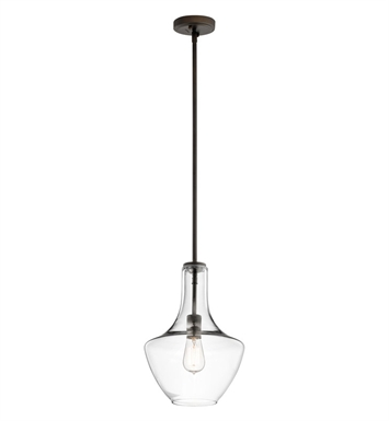 Kichler 42141OZCLR Everly Collection Pendant 1 Light in Olde Bronze