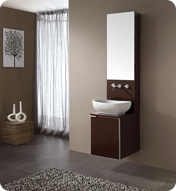 "Avanity CUBE-VS16-WE Cube 16"" Wenge Modern Bathroom Vanity with Mirror Cabinet and Sink"