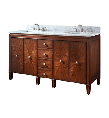 "Avanity BRENTWOOD-V61-NW Brentwood 61"" Double Sink Bathroom Vanity in Walnut Finish"