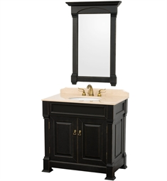 "Andover 36"" Traditional Bathroom Vanity Set by Wyndham Collection in Black with Sink and Countertop"