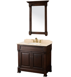 "Andover 36"" Traditional Bathroom Vanity Set by Wyndham Collection in Dark Cherry with Sink and Countertop"