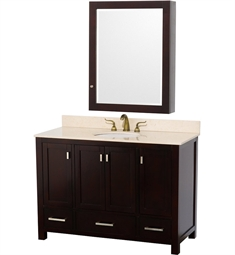"Abingdon 48"" Contemporary Bathroom Vanity Set by Wyndham Collection in Espresso with Ivory Marble Countertop"