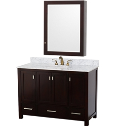 "Abingdon 48"" Contemporary Bathroom Vanity Set by Wyndham Collection in Espresso with White Carrera Marble Countertop"