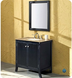 Fresca Thames Traditional Single Sink Bathroom Vanity with Mirror and Travertine Countertop