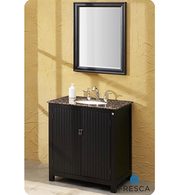 Fresca FVN6502BB Lynx Classic Single Sink Bathroom Vanity with Mirror and Baltic Brown Countertop