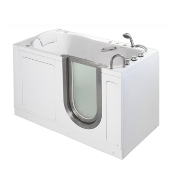 Ella 93057 Deluxe Dual Air and Hydro Massage Walk In Tub With Drain Position: Left Side Drain/Door