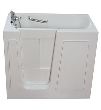 "Ella 264501L Small 26 x 45"" Bi-Fold Door Walk In Bathtub With Jet Mode: Soaking (No Jets) And Drain Position: Left Side Door/Drain"