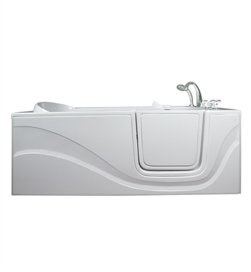 "Ella 306001L Lay Down Gel Coat 60"" Walk In Bathtub With Jet Mode: Soaking (No Jets) And Drain Position: Left Side Door/Drain"