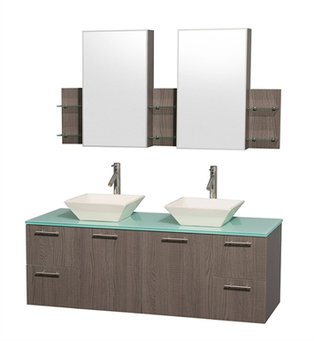 "Amare 60"" Modern Wall-Mounted Double Bathroom Vanity Set by Wyndham Collection in Grey Oak"