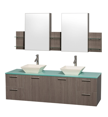 "Amare 72"" Modern Wall-Mounted Bathroom Vanity Set by Wyndham Collection in Grey Oak"