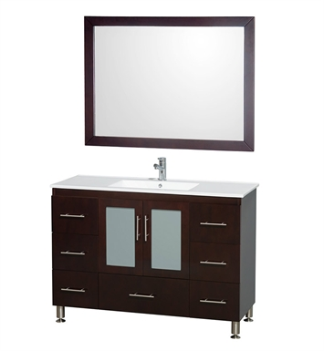 "Katy 48"" Modern Bathroom Vanity Set by Wyndham Collection in Espresso"