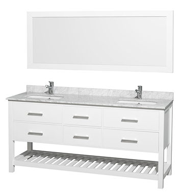 "Natalie 72"" Modern Double Bathroom Vanity Set by Wyndham Collection in White"
