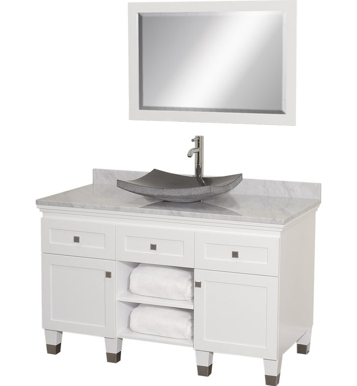 Wcv500048wh disabled premiere 48 modern bathroom vanity set by wyndham collection in white Premiere bathroom design reviews