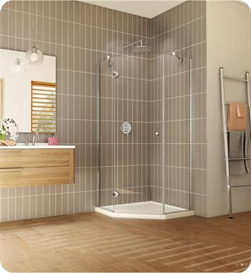 "Fleurco PNA36-11-40R-M  Platinum Neo Angle 36"" Single Shower Door With Hardware Finish: Bright Chrome And Glass Type: Clear Glass And Door Direction: Right And Shower Door Hinges: Rectangular And Microtek Glass Protection: 3 Panels"