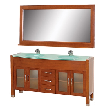 "[DISABLED]Daytona 63"" Modern Double Sink Bathroom Vanity Set by Wyndham Collection in Cherry with Countertop"