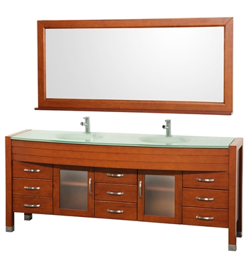 "[DISABLED]Daytona 78"" Modern Double Sink Bathroom Vanity Set by Wyndham Collection in Cherry with Countertop"