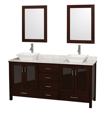 "[DISABLED]Lucy 72"" Modern Double Bathroom Vanity Set by Wyndham Collection in Espresso with Countertop"