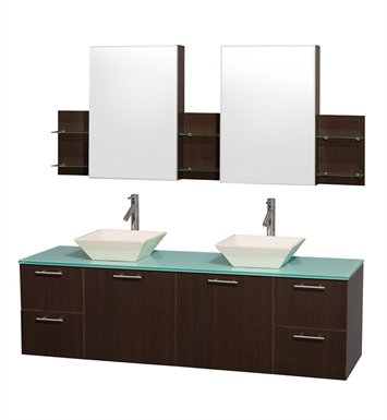 "Amare 72"" Modern Wall-Mounted Bathroom Vanity Set by Wyndham Collection in Espresso"