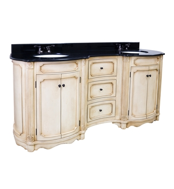 Hardware Resources VAN040D-14E Tesla Buttercream Double Vanity with Preassembled Top and Bowls by Bath Elements