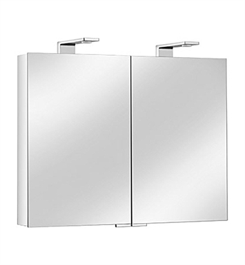 Keuco 12703171351 Royal Universe Mirror Cabinet with Silver Anodized Body and Chrome Plated Light Shades