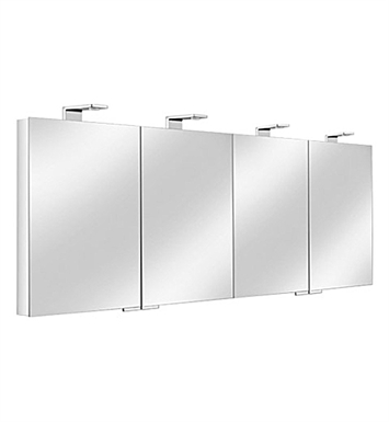 Keuco 12706171351 Royal Universe Mirror Cabinet with Silver Anodized Body and Chrome Plated Light Shades