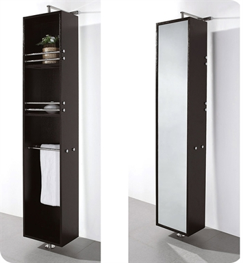 [DISABLED]April Rotating Wall Cabinet with Mirror by Wyndham Collection in Espresso