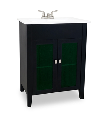 Hardware Resources VAN063 Eberly Black Vanity with Preassembled Integrated White Porcelain Top and Bowl by Bath Elements