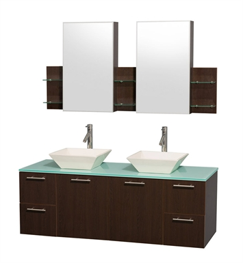 "Amare 60"" Modern Wall-Mounted Double Bathroom Vanity Set by Wyndham Collection in Espresso"
