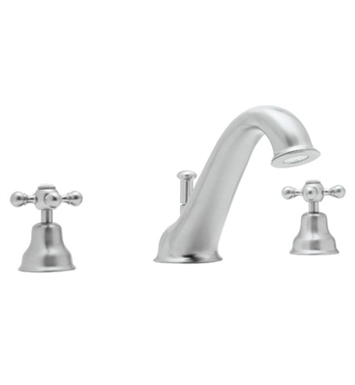 Rohl AC25L-APC Cisal Arcana 3-Hole Deck Mount Tub Filler With Ornate Metal Lever Handles in Polished Chrome