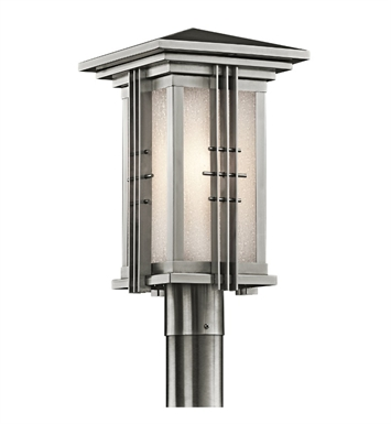 Kichler 49162SS Portman Square Collection Outdoor Post Mount 1 Light in Stainless Steel