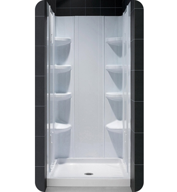 "DreamLine Qwall3-DL-6148L-01 Qwall-3 Shower Backwalls Kit With Dimensions: Shower Wall: W 59"" x D 29 7/8"" to 40 1/2"" x H 72 7/8"" 