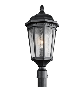 Kichler 9532BKT Courtyard Collection Outdoor Post Mount 1 Light in Textured Black