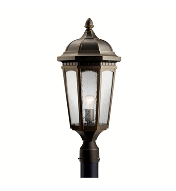 Kichler 9532RZ Courtyard Collection Outdoor Post Mount 1 Light in Rubbed Bronze