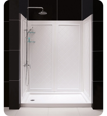 "DreamLine Qwall5-DL-6194C-01 Qwall-5 Shower Base and Backwall Kit With Dimensions: Kit Size: W 36"" x D 36"" x 76-3/4"" And Finish: Chrome And Drain Position: Center Drain"