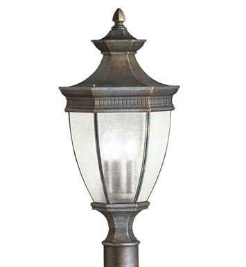 Kichler 9898TZ Warrington Collection Outdoor Post Mount 3 Light in Tannery Bronze