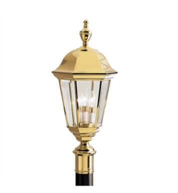 Kichler 9989PB Grove Mill 3 Light Incandescent Outdoor Post Mount Lantern in Polished Brass