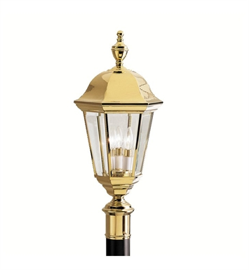 Kichler 9989PB Grove Mill Collection Outdoor Post Mount 3 Light in Polished Brass