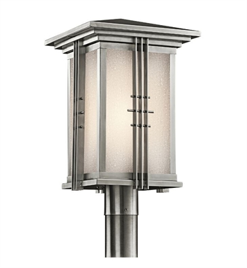 Kichler 49163SS Portman Square Collection Outdoor Post Mount 1 Light in Stainless Steel